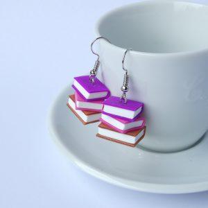 boekjes oorbellen paars roze koper