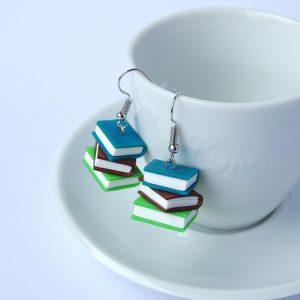 boekjes oorbellen blauw koper groen