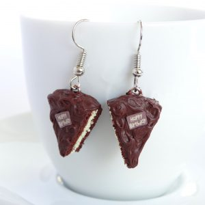 taart oorbellen chocolade