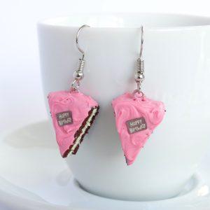 cake oorbellen roze chocolade