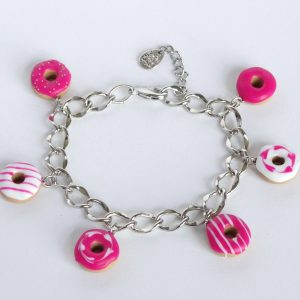 Donut armband roze met wit mix