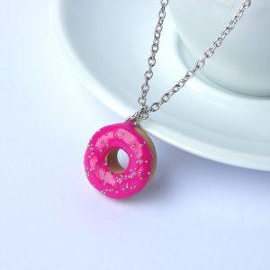 Donut ketting fuchsia roze