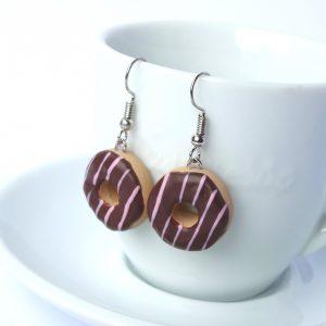 Donut oorbellen chocolade