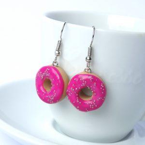 Donut oorbellen fuchsia roze