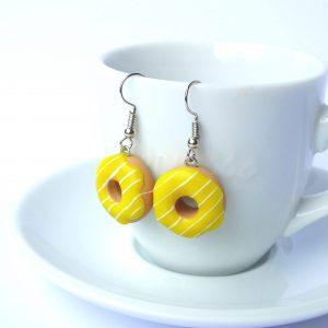 Donut oorbellen geel