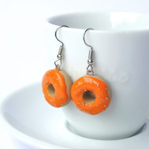 Donut oorbellen oranje