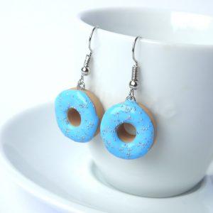 Donut oorbellen blauw