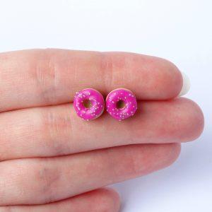 Donut oorstekers fuchsia roze