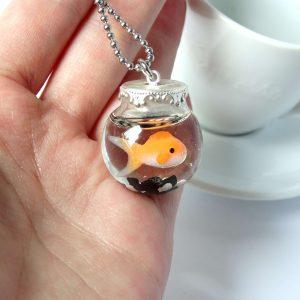 goudvis vissenkom ketting zilver