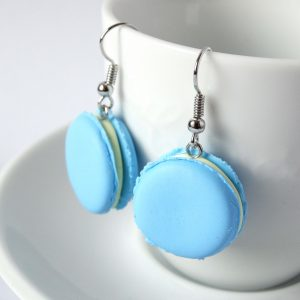 macaron oorbellen blauw