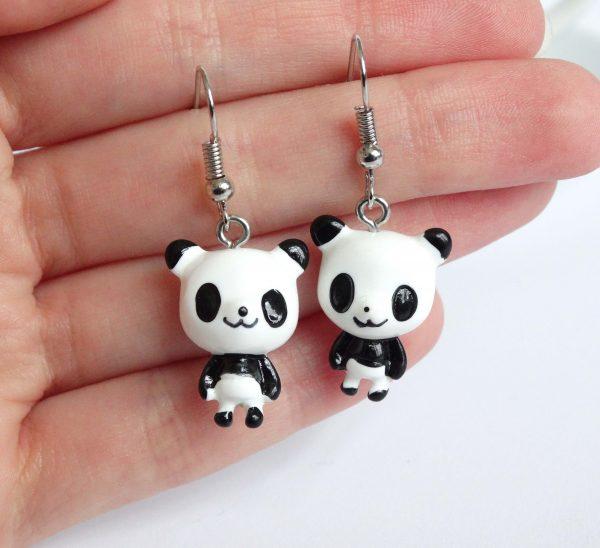 panda oorbellen