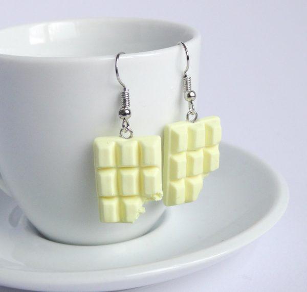 Chocolade oorbellen wit