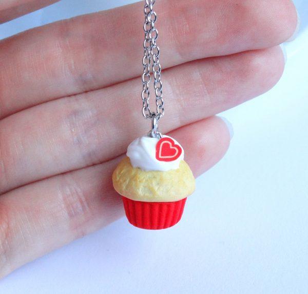 Cupcake ketting rood hartje